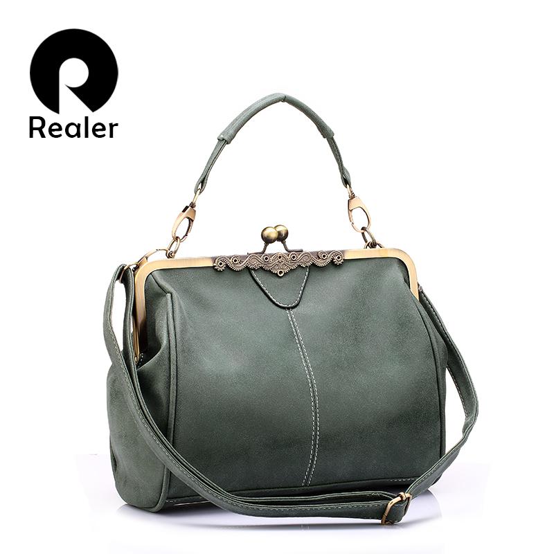 REALER brand retro handbag women messenger bags female small shoulder bag artificial leather tote bag green hasp clutch(China (Mainland))
