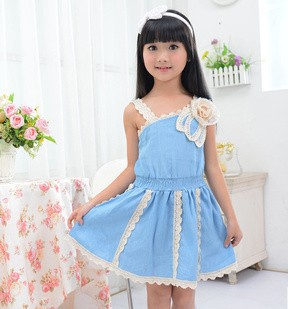 NEW Arrival Children Princess Dresses Popular Korean Style Girls Cowboy Dress Girl Lady Dress Wholesale 7pcs/lot Free Shipping