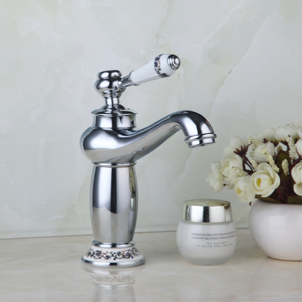 Buy Ouboni Waterfall Single Ceramic Handles Basin Faucet Bathroom Chrome Deck