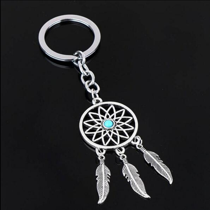 Feather Wind Chimes Dream Catcher Key Chain Holder Keyring Sliver Key Chain Rings Women Men Jewelry GM572<br><br>Aliexpress