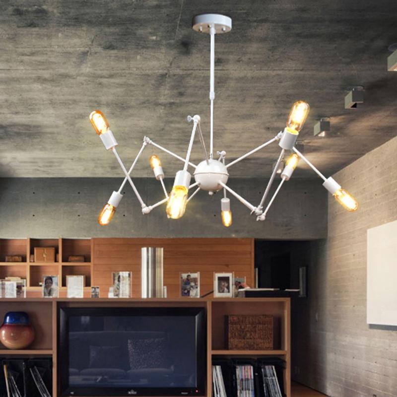 Loft Vintage Black Spider Pendant Lights Industrial Iron