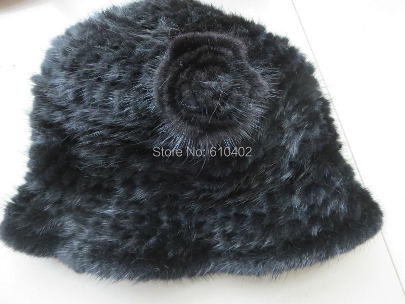 Скидки на Бесплатная доставка/женская Подлинная Реального Норки ручной вязки Top Hat/черный