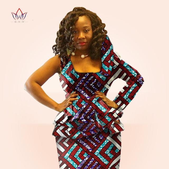 BRW Африки восковой Печати Dashiki Топ и Юбка Набор Осенние Женщины традиционные Базен ткани оборками блузка Плюс Размер одежды WY326