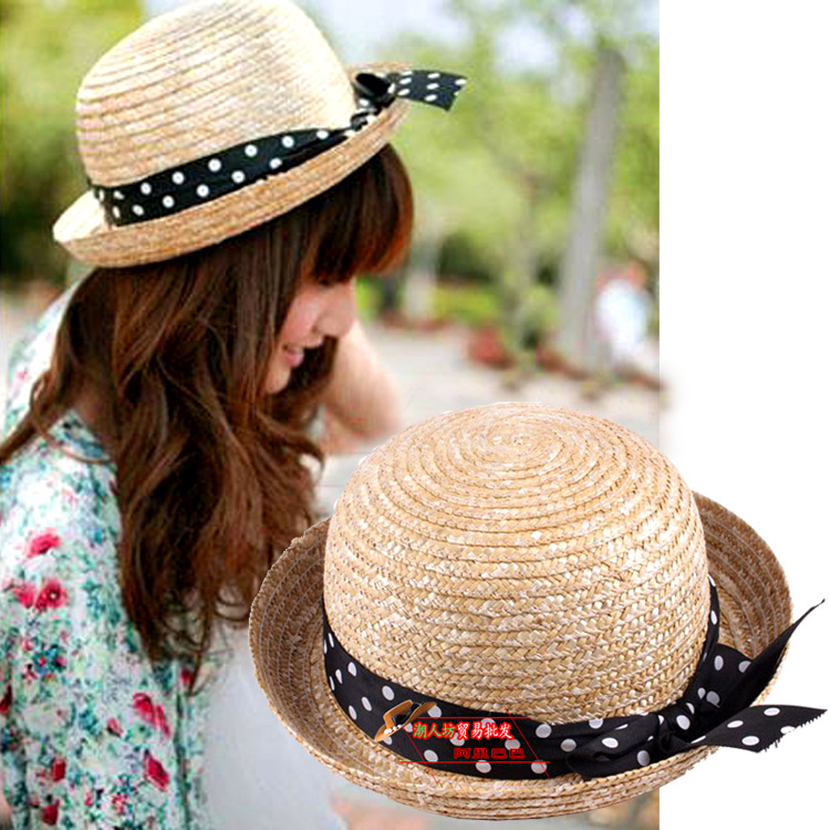 2015 Hot Sale Rushed Rayon Adult Unisex Casual Gorro Hats Korean Summer Hat Lady Visor Dome Bow Sun Parent-child Style Wholesale(China (Mainland))