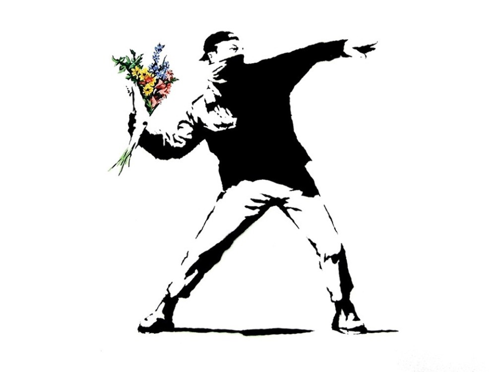 """Banksy Peace Art Graffiti Artist Fabric Poster 32"""" x 24"""" 17""""x13""""--02(China (Mainland))"""