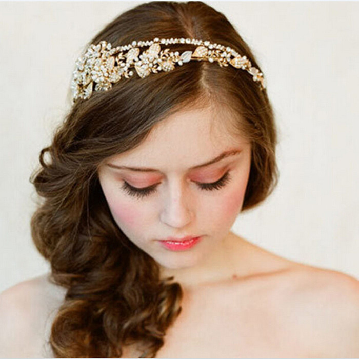 2014 Hot Wedding Bridal Hair Accessories Hair Sticks Rhinestone Flower Tiara wedding hair accessories golden crystal Gem crown(China (Mainland))