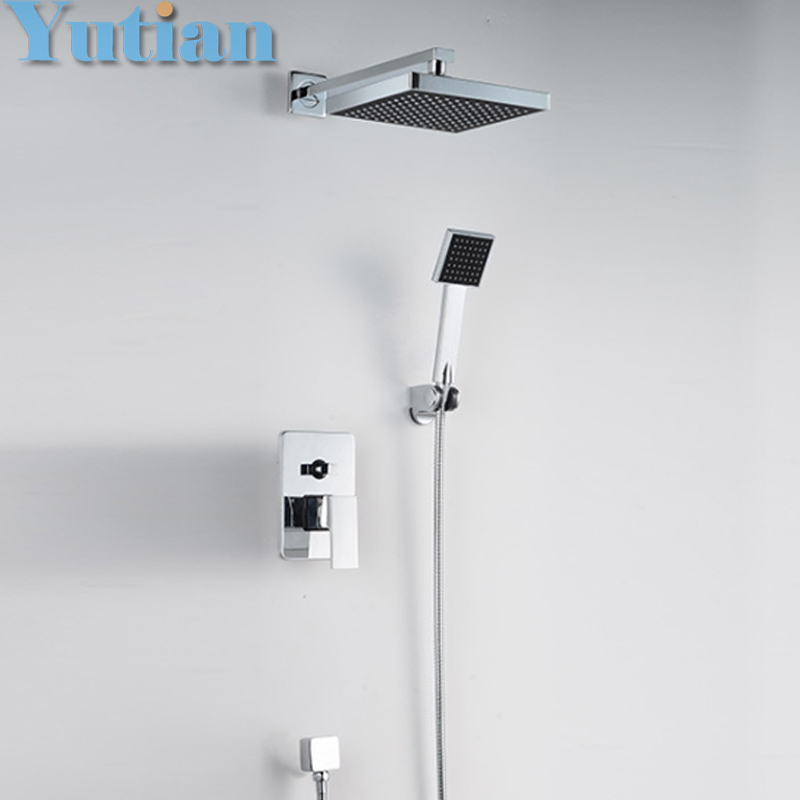 Free shipping shower faucet bathroom concealed rainfall square shower set faucet bath tap mixer chuveir low price ,YT-5304(China (Mainland))