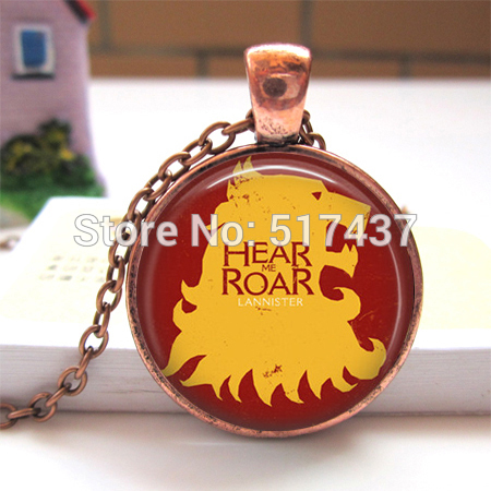 Free Shipping Picture Necklace Game of Thrones Hear me Roar House Lannister Pendant Necklace Man Fashion Brozen Pendant Necklace(China (Mainland))