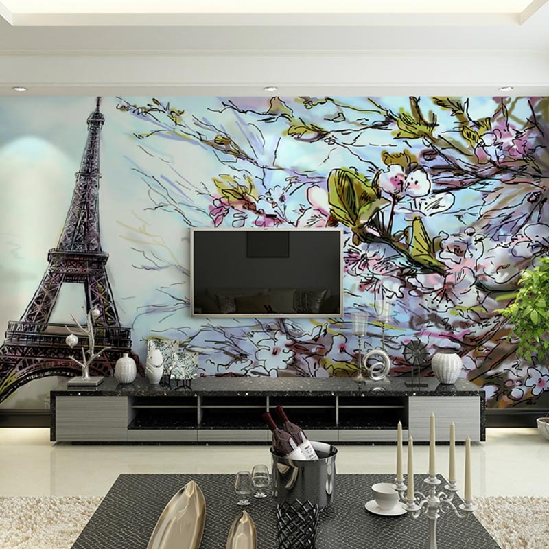 Compare prices on paris wallpaper mural online shopping for Custom mural cost