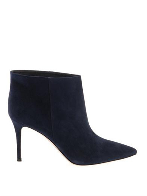 Newewst JC/GIANVITO ROSSI Stilo Navy suede ankle boots Women genuine leather booties<br><br>Aliexpress