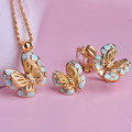 Fashion Blucome Brand Jewelry Sets 18K Gold Plated Enamel Butterfly Pendant Necklace Pendientes aros Upscale Casamento