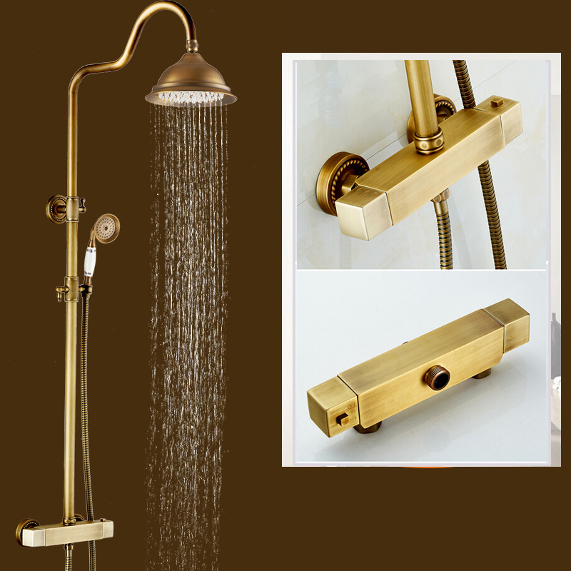 Brass Thermostatic Shower Faucet Mixing Valve Dual Handle: Antique Brass Thermostatic Mxer Valve Shower Set Dual