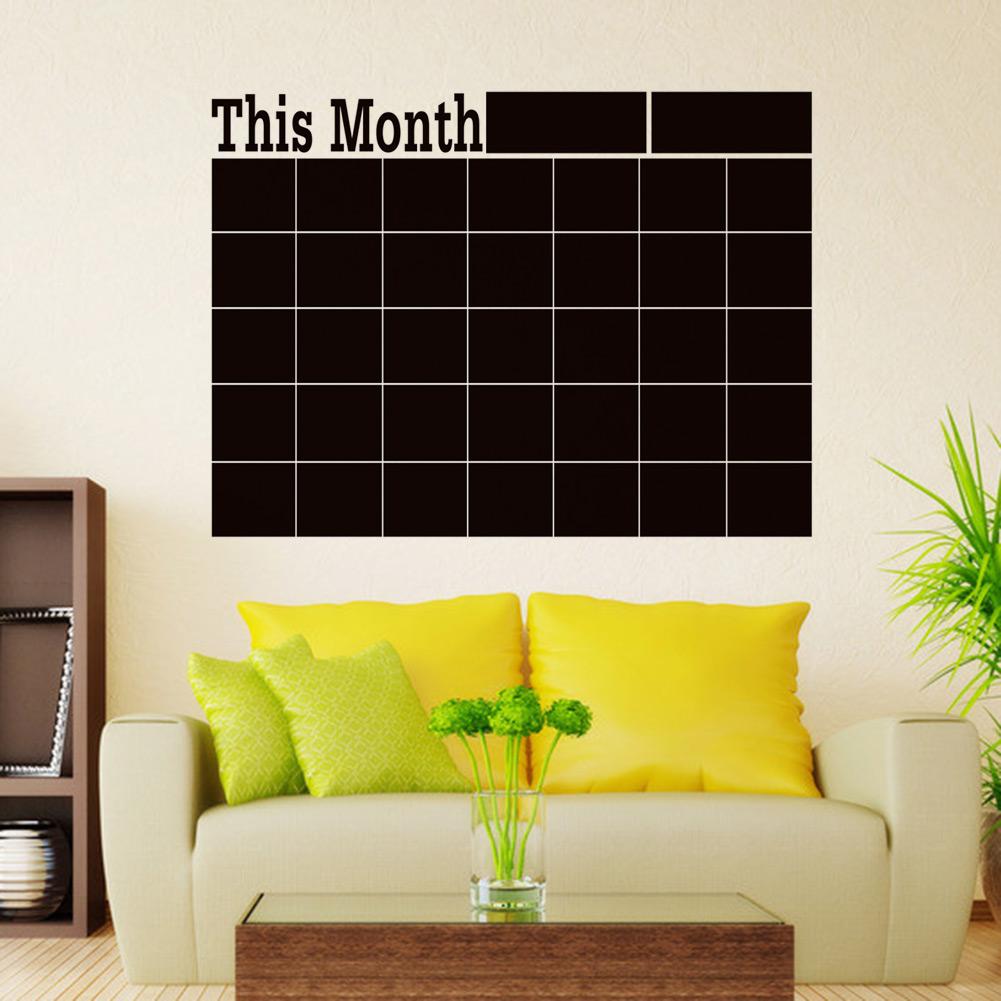 Monthly Chalkboard Board Blackboard Removable Vinyl Wall Sticker Decor Month Plan Calendar