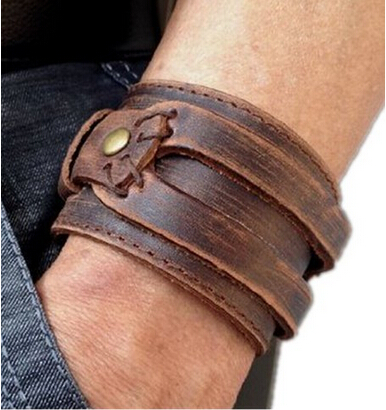 fashion genuine leather bracelet mens rock bracelets bangles vintage jewelry fo men punk wristband pulseira de couro - Rockstar store