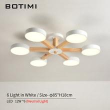 BOTIMI 220V LED Chandelier For Living Room Modern White Lustre Wooden Bedroom Lighting Simple Surface Mounted Chandeliers(China)