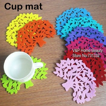 10 pcs/Lot Colored tree Cup Mat felt Coaster Crochet Doilies Kitchen accessories Table tea Placement Novelty households 8539