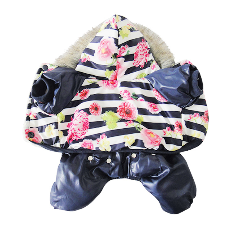 New Arrival!Dog Clothing,Pet Apparels,Lovely flower Style leather Warm Coat with Hoodies for Dogs Four-legged clothing Coverall(China (Mainland))