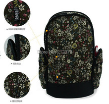 Casual high quality lovely corduroy Backpacks Girl Lady Student School Travel bags floral backpack rucksack large capacity(China (Mainland))