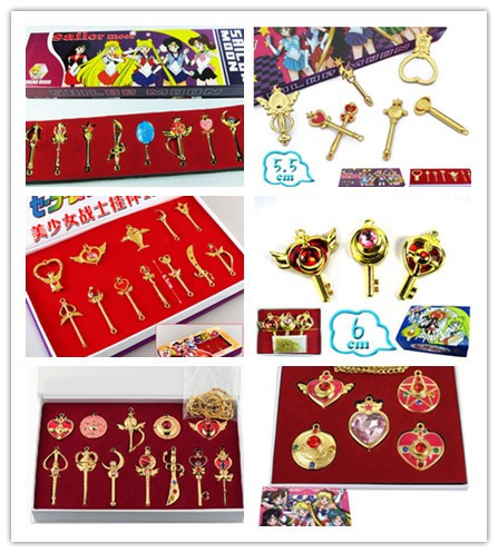 Sailor Moon key chain set pendant metal model Cosplay keyring decorations - Animena Trading Co.,Ltd store