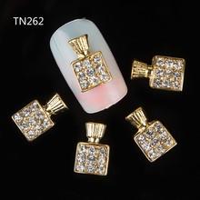10pcs 3d nail art Perfume bottles design glitter rhinestones decoration nails gel alloy metail 3d charm strass nail art jewelry
