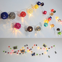 2M length, 20pcs Ivory White pink blue green red Handmade Rattan Balls String Lights Fairy Party Patio Decor battery Powered(China (Mainland))
