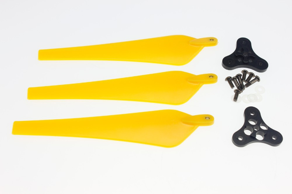 F11020-A 1 Set 12*4.5 Yellow Folding Nylon 3-Blade Prop CW with 0328 Base Mount for Drone RC Multicopters + FS<br><br>Aliexpress