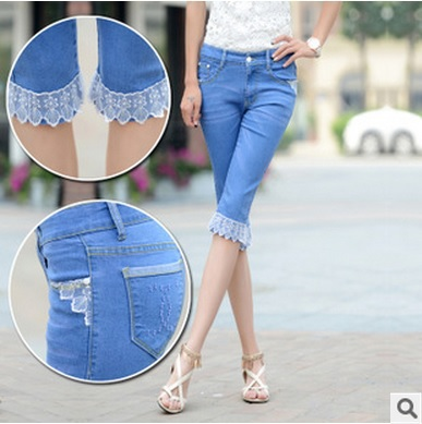 2015 women's Slim denim fashion character jeans women lace seventh pants woman summer light blue thin leisure yl030 - dingding trading store