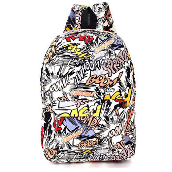 Canvas Backpack Students School Bag For Teenage Girls Boys Backpacks Street Graffiti Bags Cartoon Print Rucksack mochila XA1065C