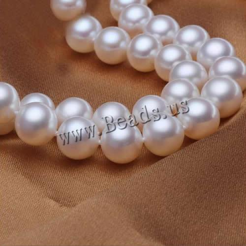 Free shipping!!!Natural Freshwater Pearl Necklace,tibetan, brass foldover clasp, Round, white, 9-10mm, Length:Approx 16.5 Inch