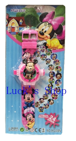 Free Shipping 6 pcs Minnie Projection Table Cartoon Wristwatch 24 Different Projection Pattern Children's Gifts KA109(China (Mainland))