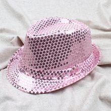 2018 ילד ילדים ילדי ילדות כובע מבוגר כובע ג 'אז כובע נצנצים פופולרי ראש שטוח טופר טרילבי פדורה מגבעת פאייטים אופנה נשים גברים(China)