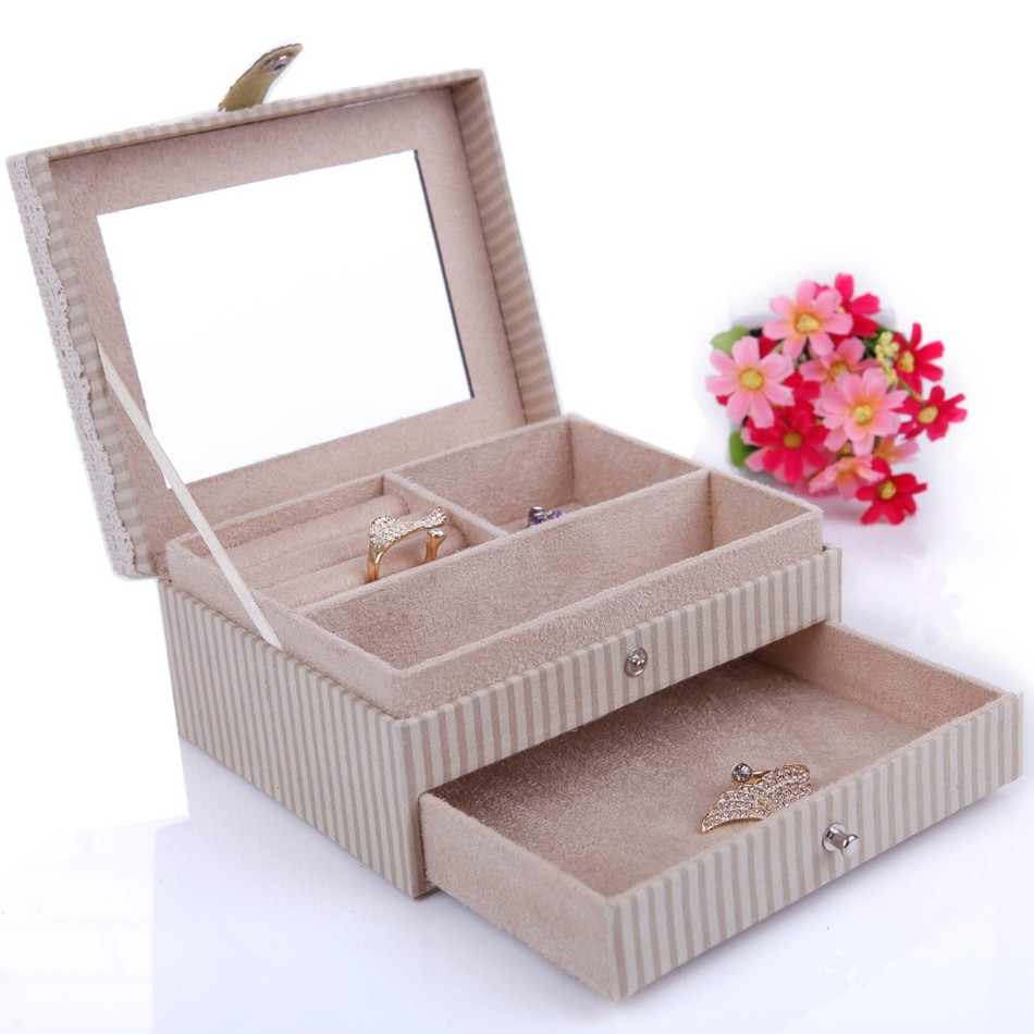 Drawer Mirror Rabbit Jewelry Boxes Quality Wood Wedding Gift Accessories Display Organizer Storage Hasp Carrying Casket Boxes(China (Mainland))