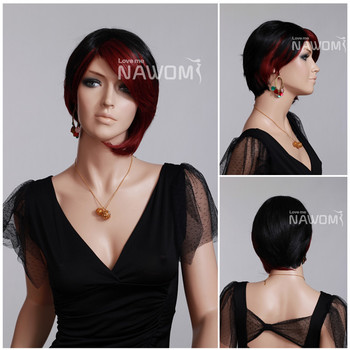 """Free Shipping Asymmetric Unique Short Wigs For Women Black & Red Straight 5.5"""" Full Wigs"""