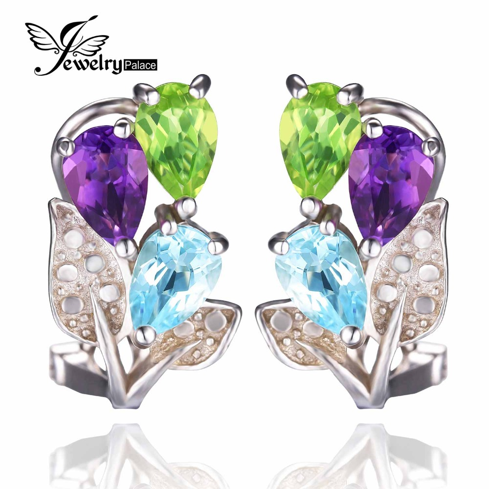 New 2.8ct Natural Amethyst Peridot Sky Blue Topaz Earrings Clip Pure 925 Sterling Solid Silver Fashion Vintage Jewelry For Women(China (Mainland))