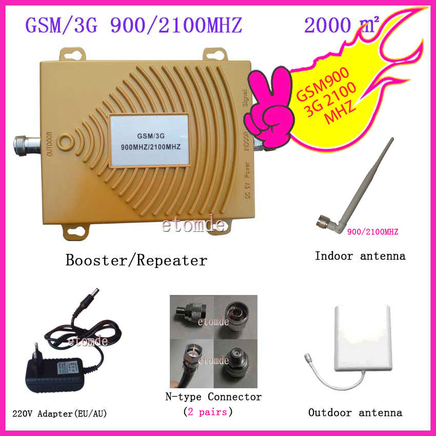Dual Band Signal Amplifier 3G Booster WCDMA 2100MHZ Booster GSM 900MHZ with Antenna Connector RF Repeater Kit for Mobile Signal(China (Mainland))
