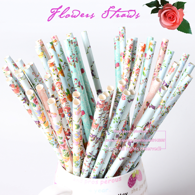 25pcs/lot Mix 5 Designs Floral Series Paper Drinking Straws for Wedding Party Birthday Decoration