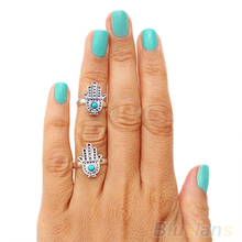 Hot Women New Come Retro Silver Hand Of Fatima Hamsa With Evil Eye For Protection rings ring