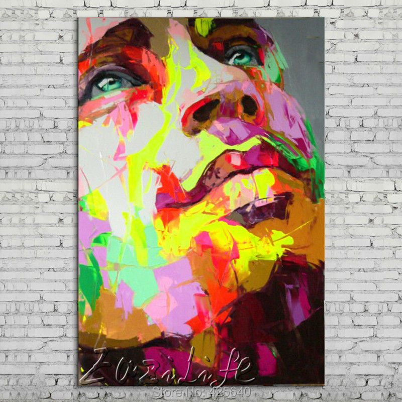 Buy Palette knife portrait Face Oil painting Character figure canva Hand painted Francoise Nielly wall Art picture for living room36 cheap