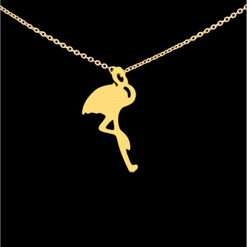 wholesale 30pcs/lot 2016 Fashion Stainless Steel Women Fine Jewelry Tiny Bird Flamingo Charm Necklace Gold Silver Chain N0059(China (Mainland))