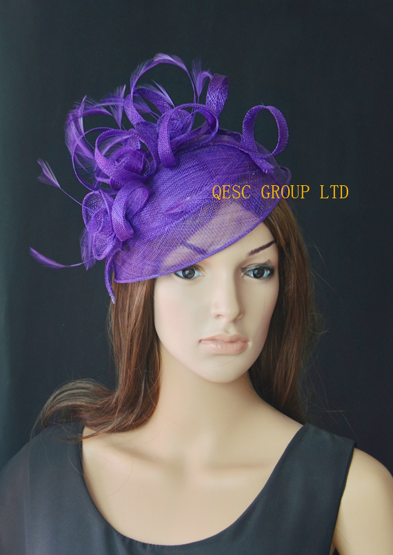 Purple Fascinator wedding hat.(China (Mainland))