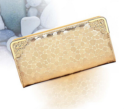 2015 new ms han edition gold silver stone grain long purse fashion trend in women wallet(China (Mainland))
