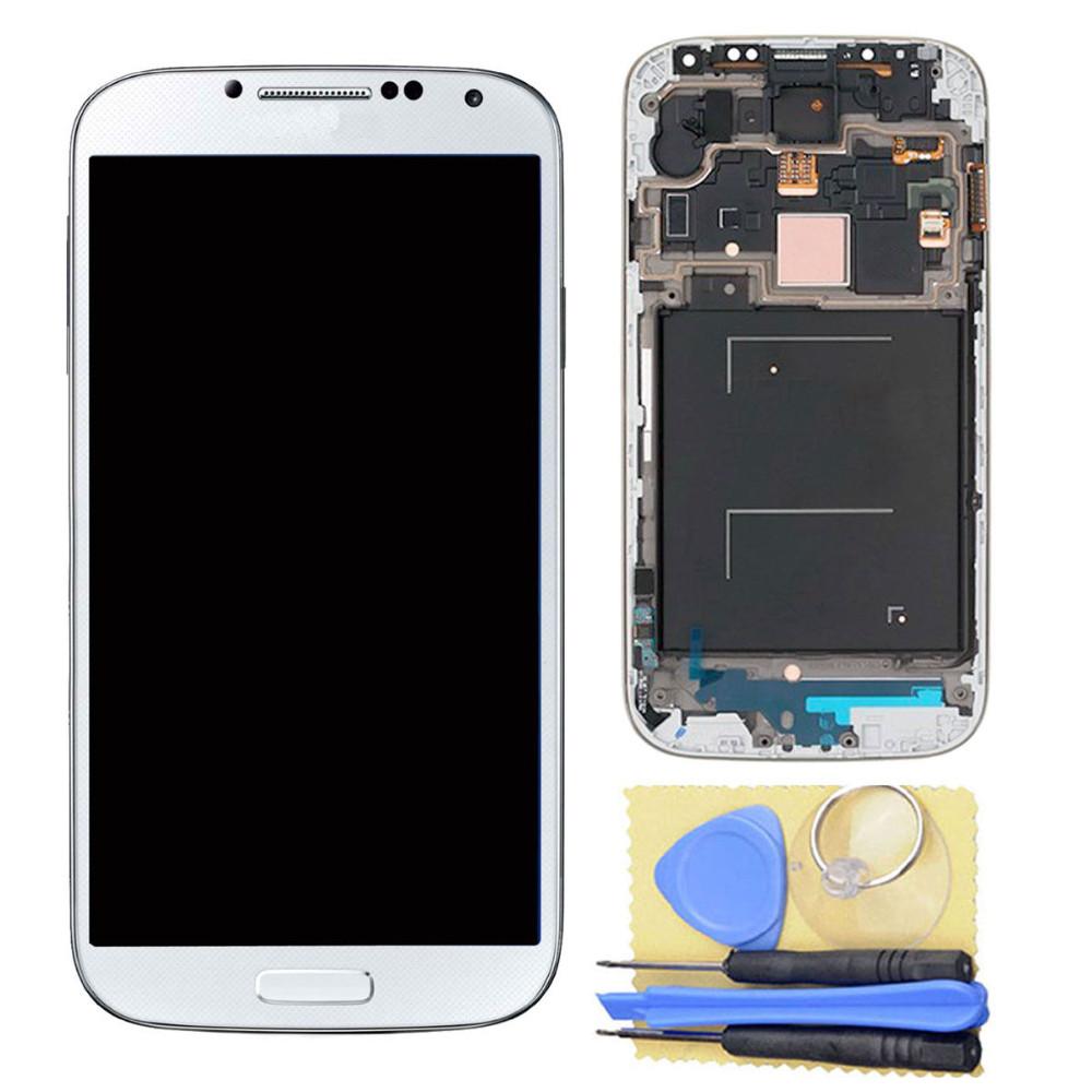 Для Samsung для Галактики S4 i9500 ЖК-дисплей Сенсорный экран + Дигитайзер Ассамблеи с рамкой +инструменты бесплатная доставка