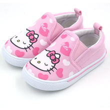 Girls Shoes 2014 New Spring Brand Canvas Shoes For Toddler Girls Hello Kitty Carton Child Kids