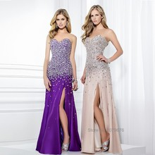 Gorgeous Long Crystal Party Gowns Strapless Bling Bling Purple Pink Dresses Prom 2015 Lady's Evening Dress With Stones(China (Mainland))