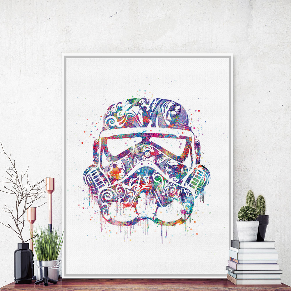 Original Watercolor Star Wars Helmet Mask Darth Vader Pop Movie Art Print Poster Abstract Wall Picture Canvas Painting Home Deco(China (Mainland))