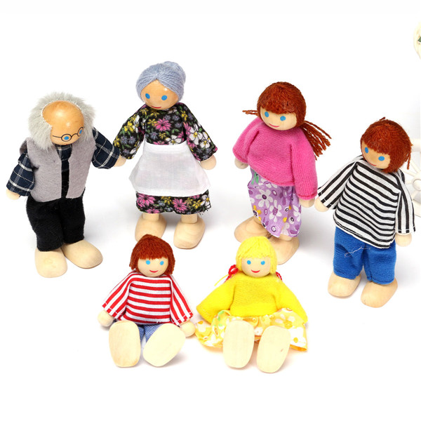Small Wooden Toy Happy Dollhouse Family Dolls Set Figures Dressed Characters Children Kids Playing Doll Gift(China (Mainland))