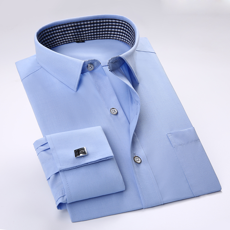 2016 men 39 s solid color french cuff dress shirts cufflinks for Dress shirt for cufflinks