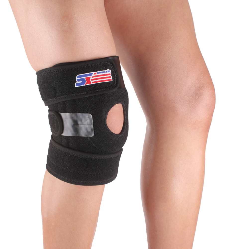 Adjustable silicon Outdoor Sport Open Patella Knee support pads brace Guard Protector with 4-Spring - Black(China (Mainland))