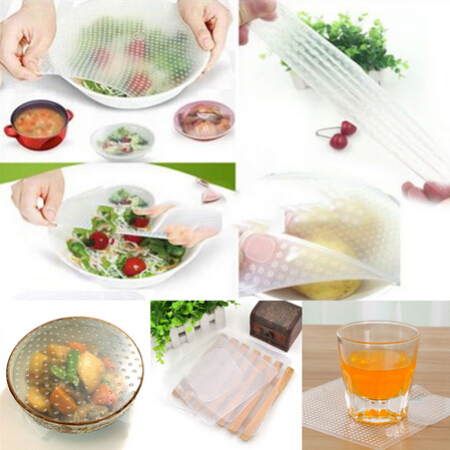 New 4pcs Multifunctional Food Fresh Keeping Saran Wrap Kitchen Tools Reusable Silicone Food Wraps Seal Cover Stretch(China (Mainland))