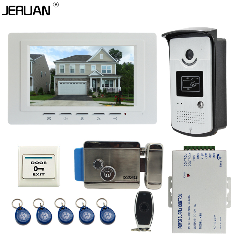 JERUAN Home 7`` color LCD Video DoorPhone Intercom System kit 1 Monitor +700TVL RFID Access waterpoof Camera +Electronic lock(China (Mainland))